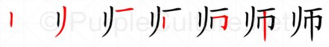 Stroke order image for Chinese character 师