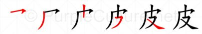 Stroke order image for Chinese character 皮