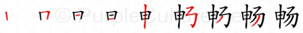 Stroke order image for Chinese character 畅