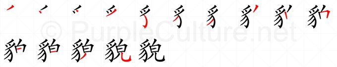 Stroke order image for Chinese character 貌