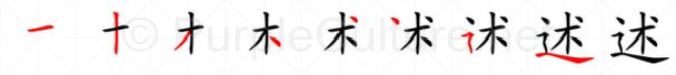 Stroke order image for Chinese character 述