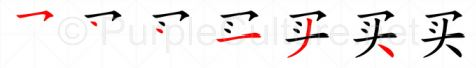 Stroke order image for Chinese character 买