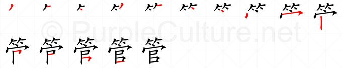 Stroke order image for Chinese character 管