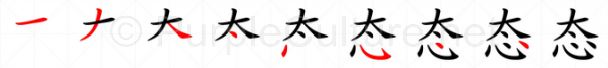 Stroke order image for Chinese character 态