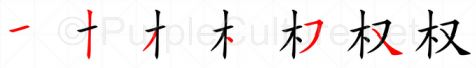 Stroke order image for Chinese character 权