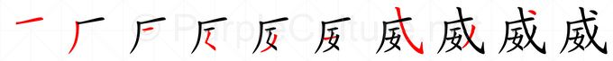 Stroke order image for Chinese character 威