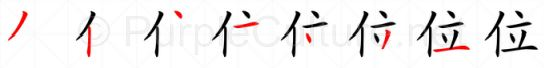 Stroke order image for Chinese character 位