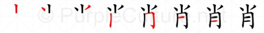 Stroke order image for Chinese character 肖