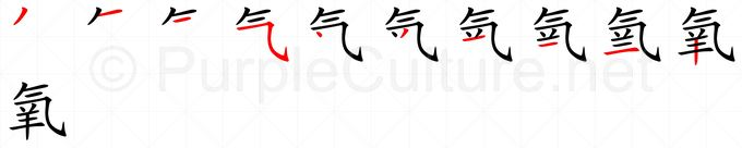 Stroke order image for Chinese character 氧