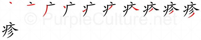Stroke order image for Chinese character 疹