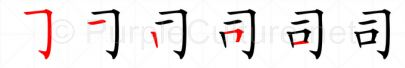 Stroke order image for Chinese character 司