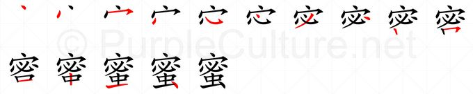 Stroke order image for Chinese character 蜜