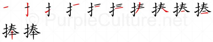 Stroke order image for Chinese character 捧