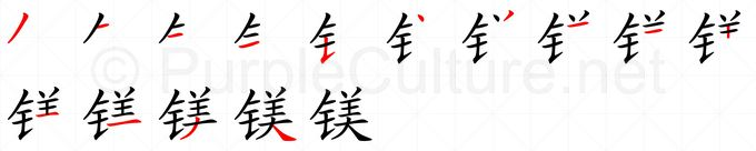 Stroke order image for Chinese character 镁