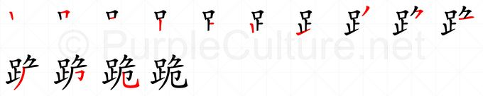 Stroke order image for Chinese character 跪