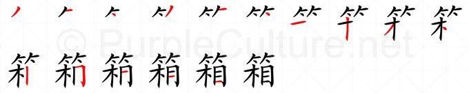 Stroke order image for Chinese character 箱