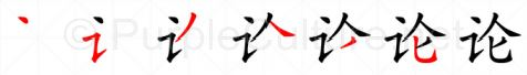 Stroke order image for Chinese character 论