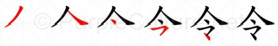Stroke order image for Chinese character 令