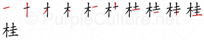 Stroke order image for Chinese character 桂