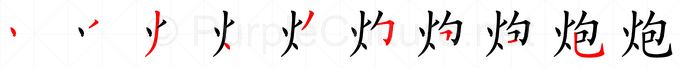 Stroke order image for Chinese character 炮
