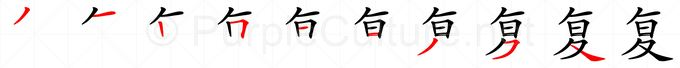 Stroke order image for Chinese character 复