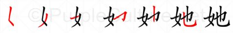 Stroke order image for Chinese character 她