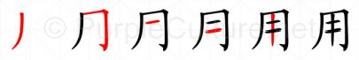 Stroke order image for Chinese character 用