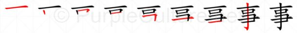Stroke order image for Chinese character 事
