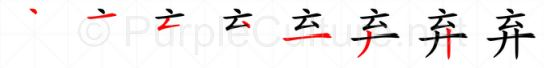 Stroke order image for Chinese character 弃