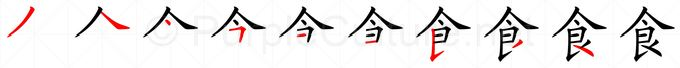 Stroke order image for Chinese character 食
