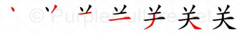 Stroke order image for Chinese character 关