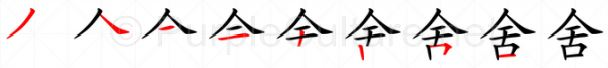 Stroke order image for Chinese character 舍
