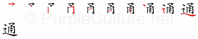 Stroke order image for Chinese character 通