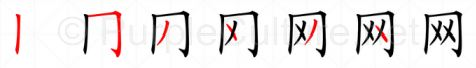 Stroke order image for Chinese character 网