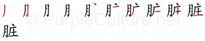 Stroke order image for Chinese character 脏