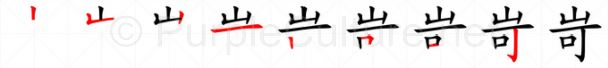 Stroke order image for Chinese character 岢
