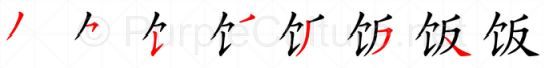 Stroke order image for Chinese character 饭