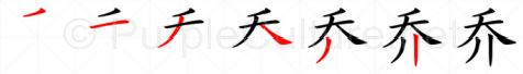 Stroke order image for Chinese character 乔