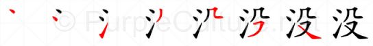 Stroke order image for Chinese character 没