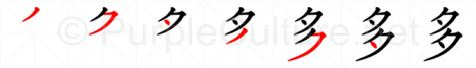 Stroke order image for Chinese character 多