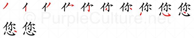 Stroke order image for Chinese character 您