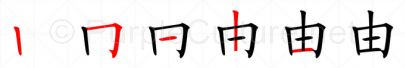 Stroke order image for Chinese character 由