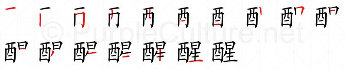 Stroke order image for Chinese character 醒