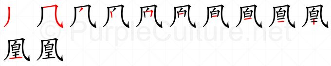 Stroke order image for Chinese character 凰