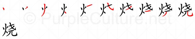 Stroke order image for Chinese character 烧