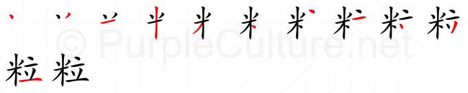 Stroke order image for Chinese character 粒
