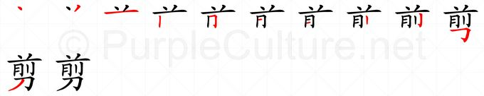 Stroke order image for Chinese character 剪