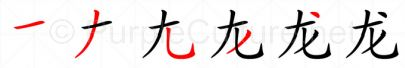 Stroke order image for Chinese character 龙