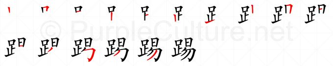 Stroke order image for Chinese character 踢