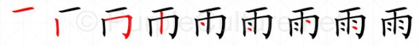 Stroke order image for Chinese character 雨
